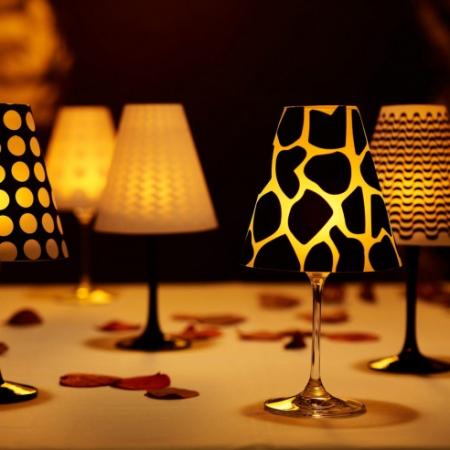 6 Wijnglas Lampenkappen